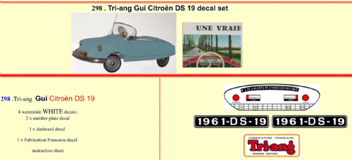 298 Tri-ang Gui Citroën DS 19 decal set
